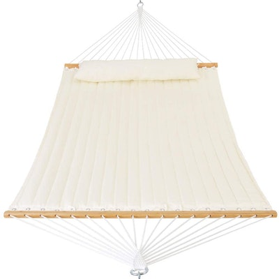 Patio Watcher Quilted Fabric Hammock with Pillow