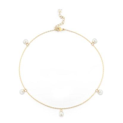 14kt Gold 5 Point Pearl Anklet