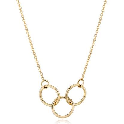 14K Gold Interlocking Trio Necklace