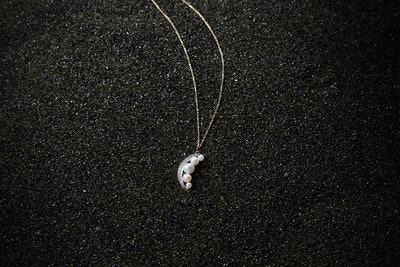 14kt Gold Pearl Crescent Moon Necklace