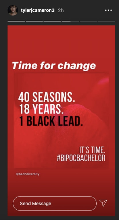 Tyler Cameron supports The Bachelor Diversity Campaign on Instagram.