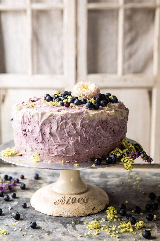 Blueberry Lemon Layer Cake With Purple Frosting
