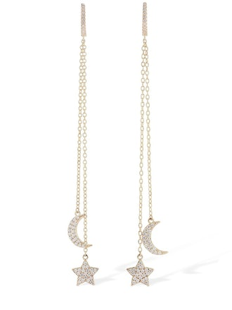 Star and Moon Pendant Earrings