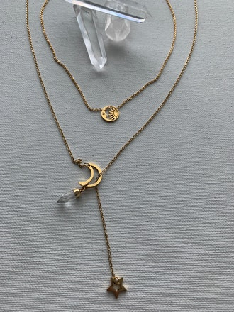 Celeste Moon Sun Star Necklace Set Rose Quartz