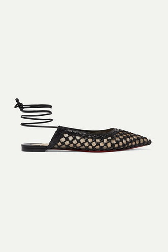 Cage and Curry Woven Leather and Mesh Point-Toe Flats
