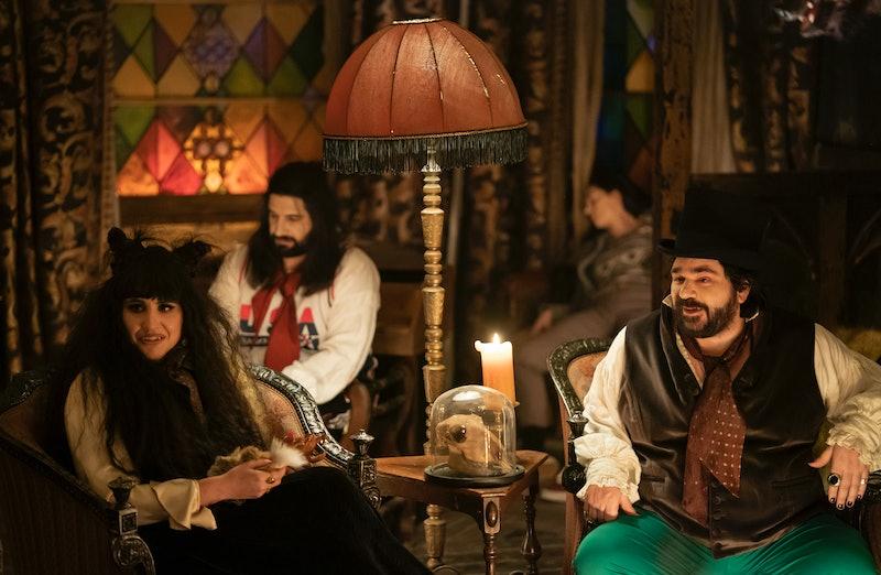Natasia Demetriou as Nadja, Kayvan Novak as Nandor, and Matt Berry as Laszlo on What We Do in the Sh...