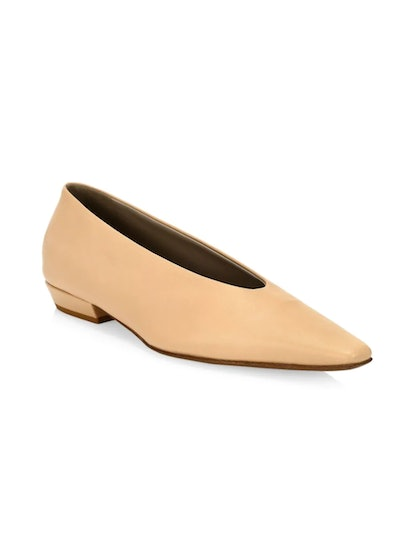 Almond Leather Flats