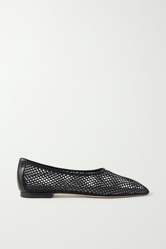 Leather-Trimmed Fishnet Loafers