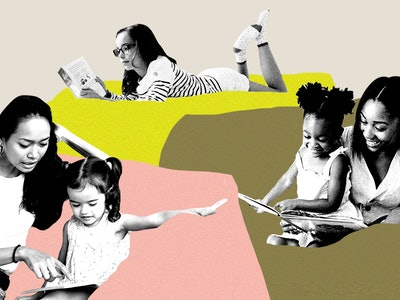 moms reading with their children on multicolored background