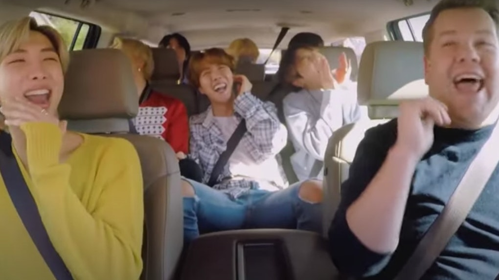 BTS tape an episode of 'Carpool Karaoke.'