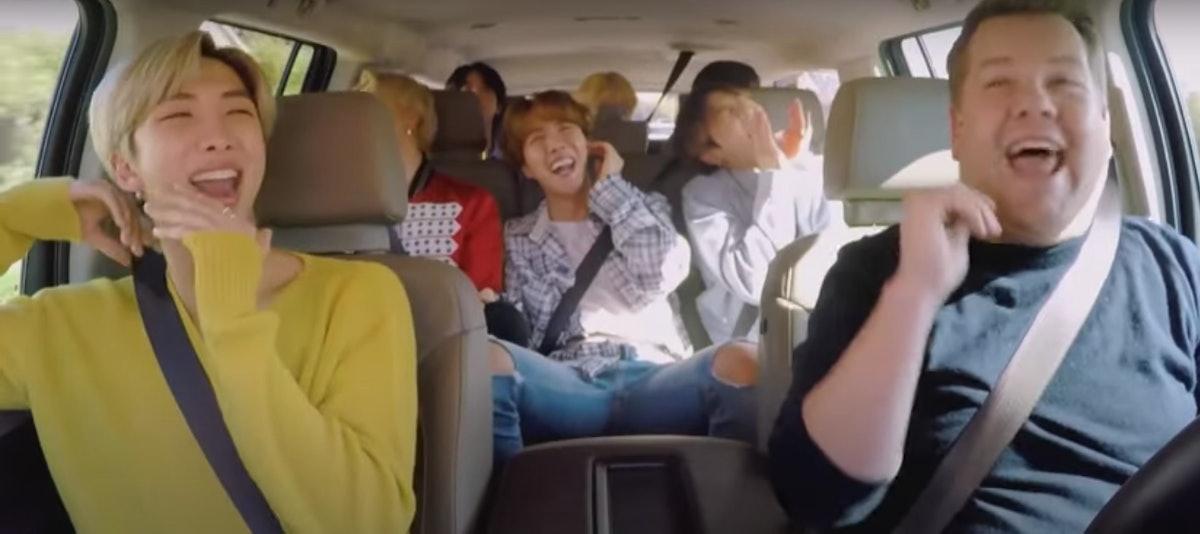 BTS tape an episode of 'Carpool Karaoke.'