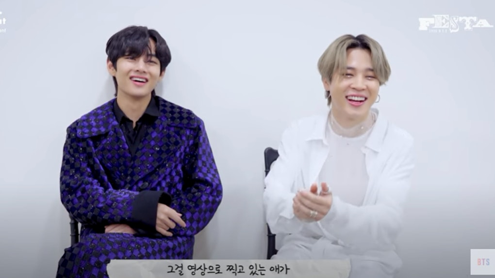 """A screenshot from the video of V and Jimin discussing """"Friends."""" BTS' V and Jimin's quotes about their friendship are so real."""