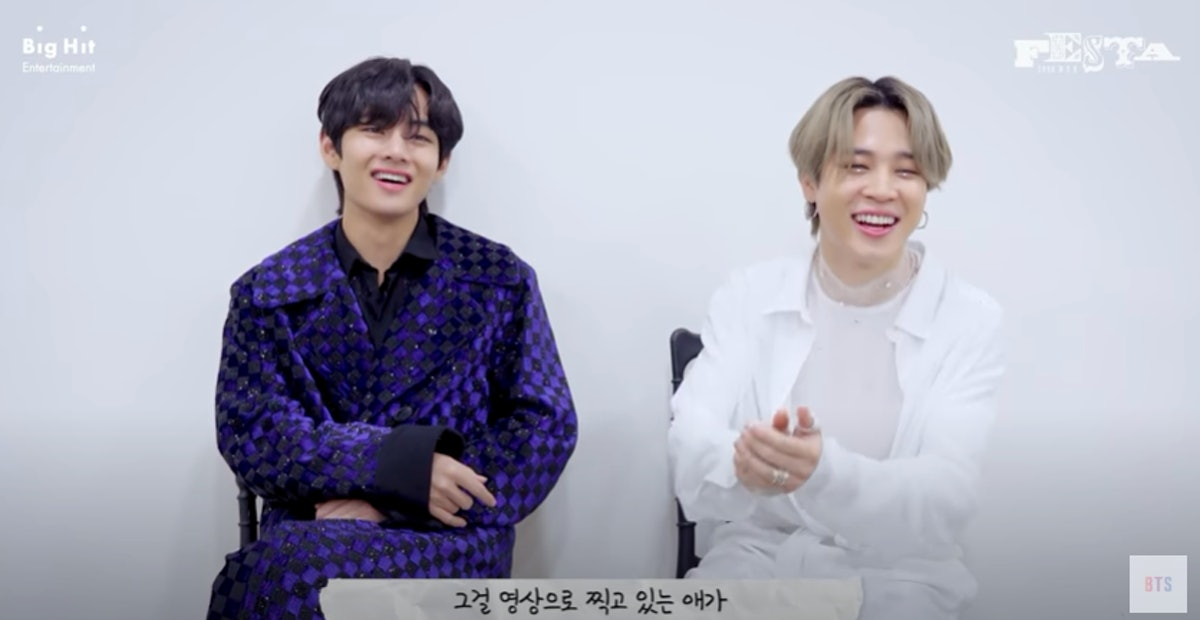 """A screenshot from the video of V and Jimin discussing """"Friends."""" BTS' V and Jimin's quotes about the..."""