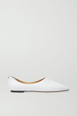 Joselyn Croc-Effect Leather Ballet Flats
