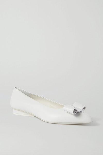 Viva Bow-Embellished Leather Point-Toe Flats