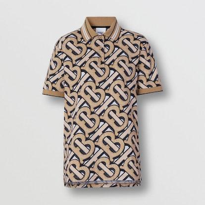 Monogram Print Cotton Piqué Polo Shirt