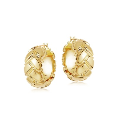 Lucy Williams gold chunky waffle hoops