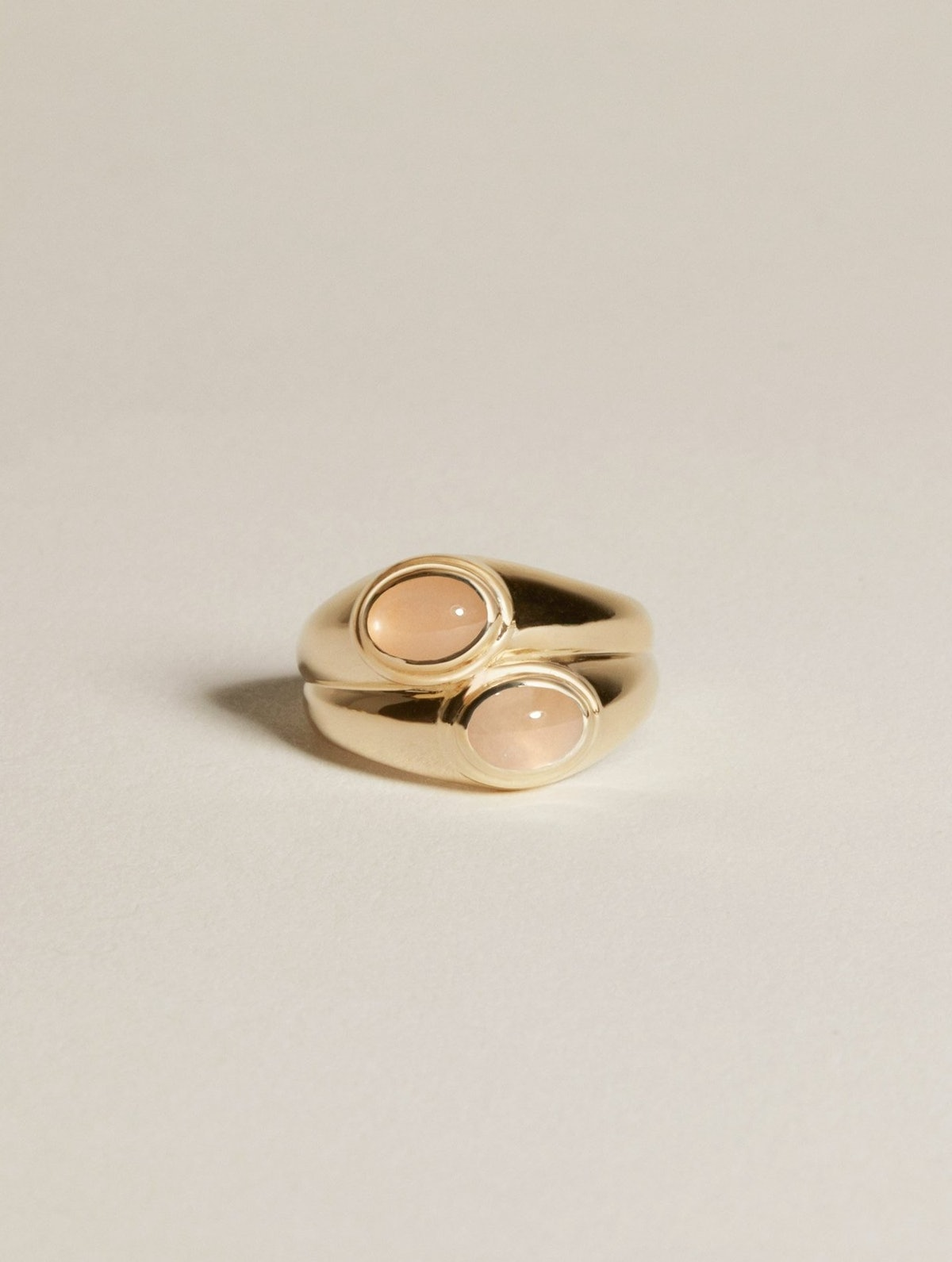 Duo Face Ring with Peach Moonstone