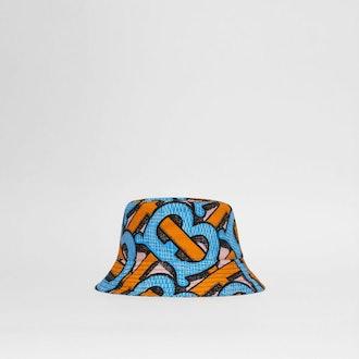 Monogram Print Cotton Canvas Bucket Hat