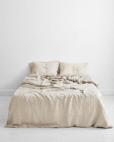 Oatmeal 100% Flax Linen Queen Bedding Set