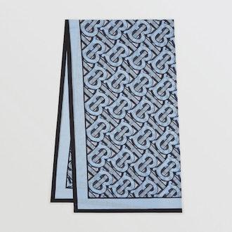 Monogram Print Lightweight Cotton Scarf