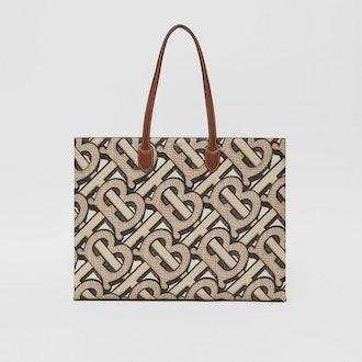 Monogram Print E-canvas Tote Bag