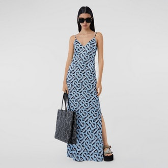 Monogram Print Silk Satin Slip Dress