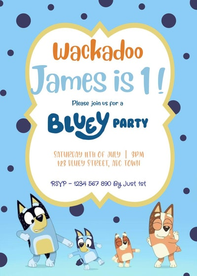 Bluey-themed birthday party invitation