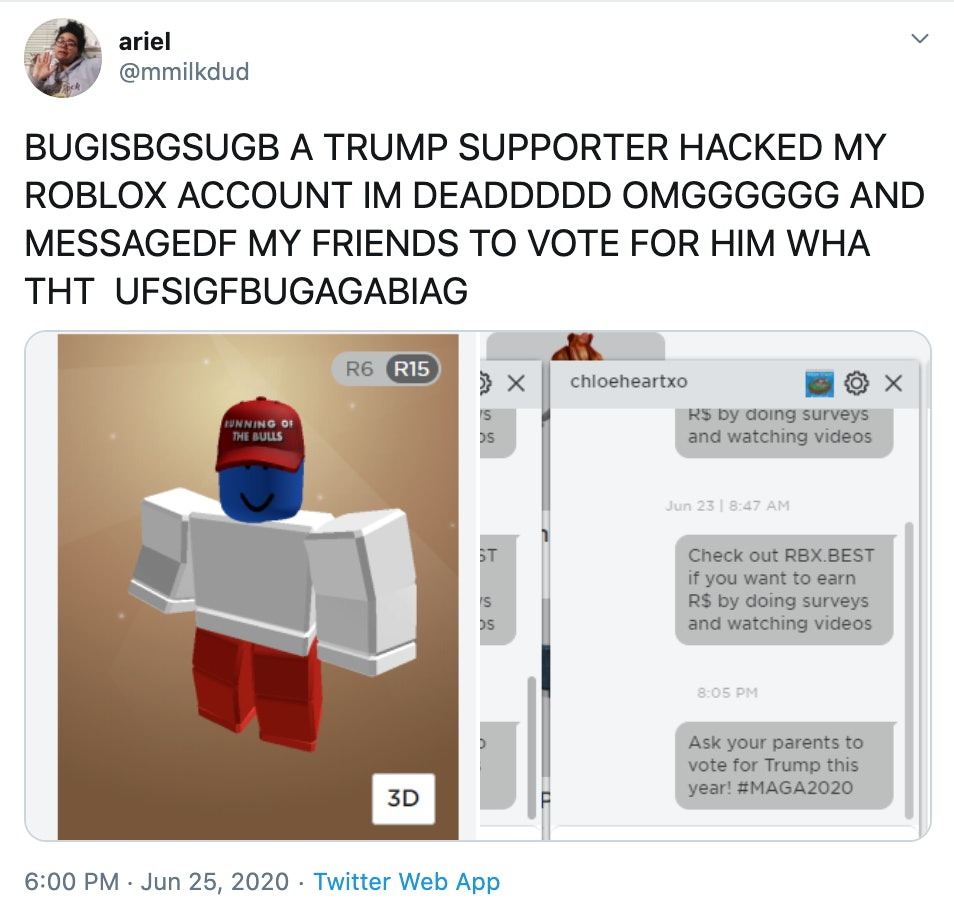 Roblox Trolling Guide Someone S Hacked Roblox Accounts To Push Pro Trump Messages On Kids