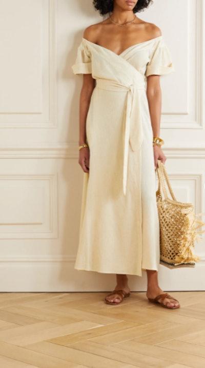 Mara Hoffman Adelina Organic Cotton and Linen-Blend Wrap Midi Dress