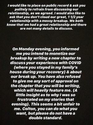 Cassie Randolph Instagram Story Colton Underwood