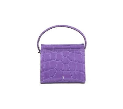Mini Play Purple Croc-Embossed Leather Bag