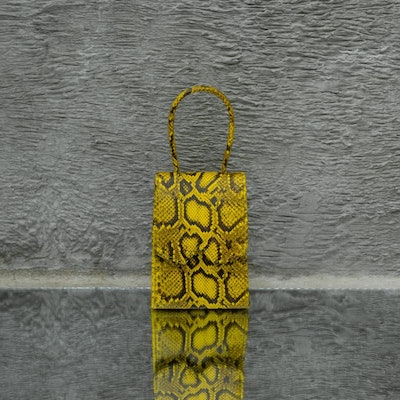 Alpha Mini Yellow Snake Embossed Leather Tote