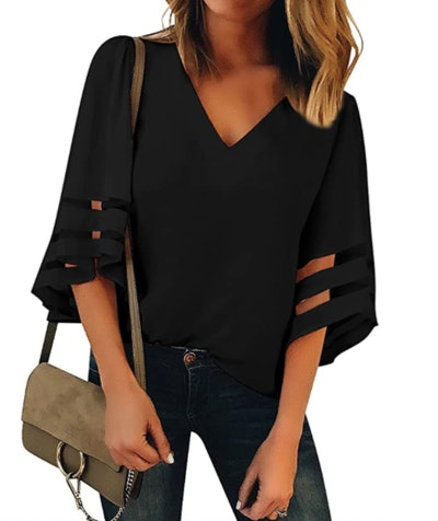 LookBookStore Mesh Panel Blouse
