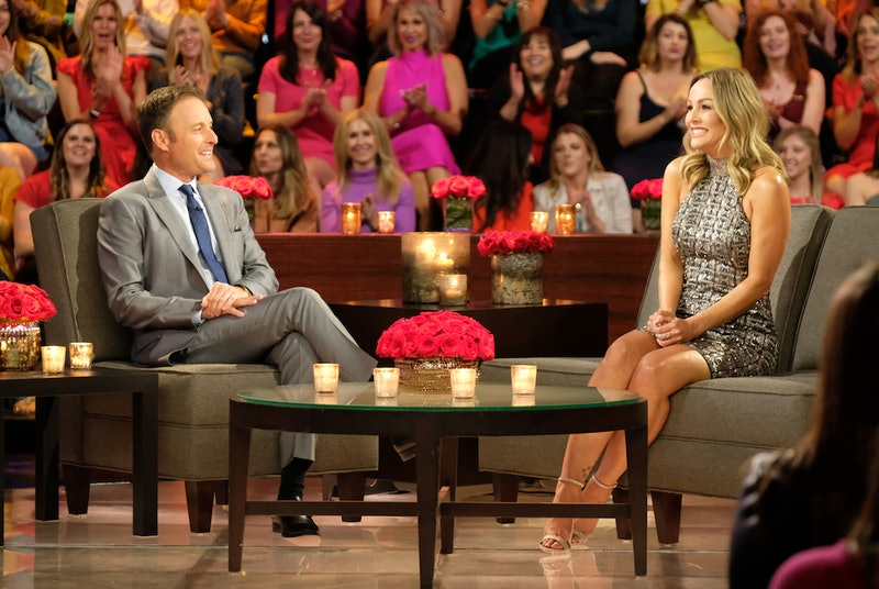 Clare Crawley and Chris Harrison on set of Bachelor