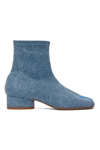 Blue Denim Low Heel Tabi Boots