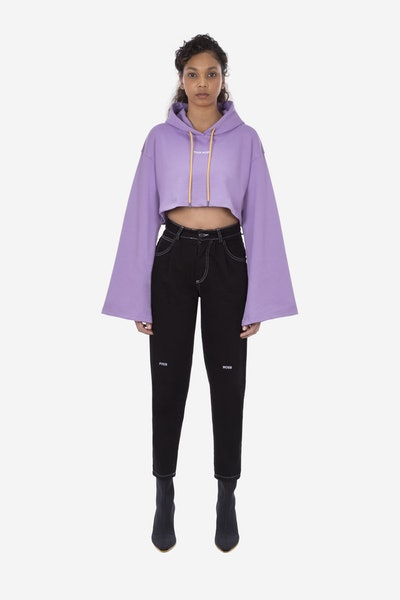 Pyer Moss Bell Sleeve Cropped Hoody and College Slouch Sweatpant