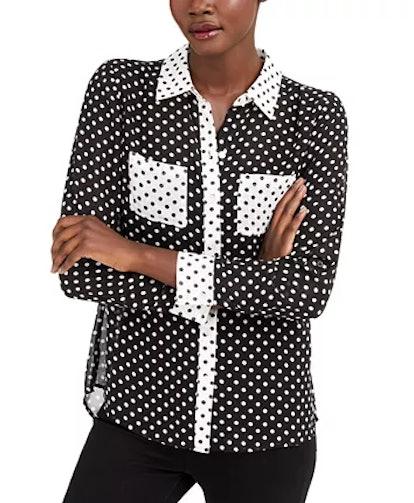 INC Mixed-Print Button-Up Shirt