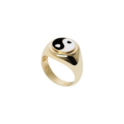 Gold YinYang Black Ring