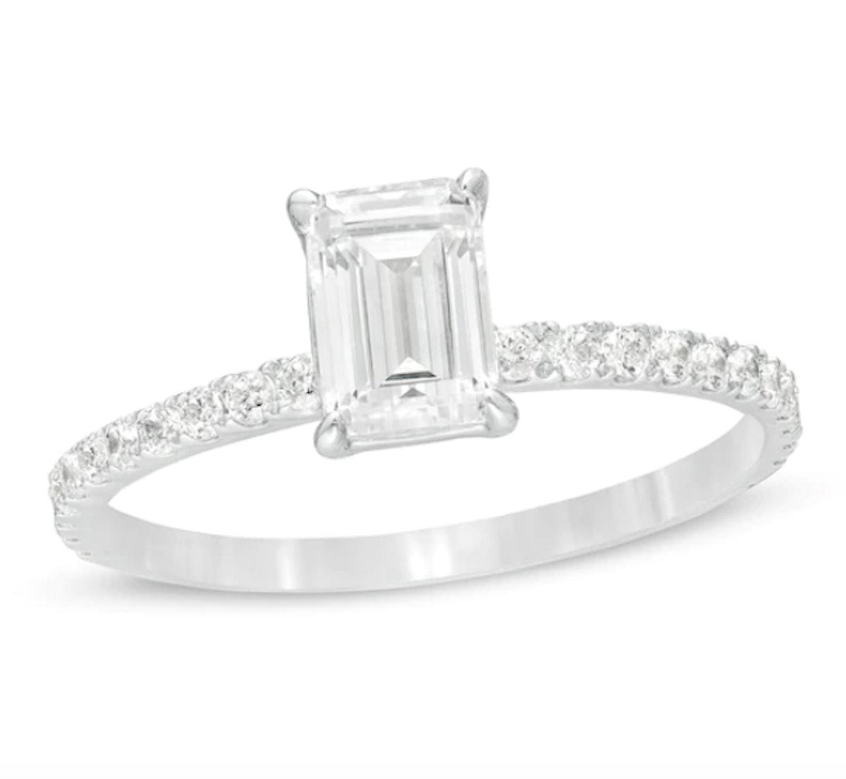 1 CT. T.W. Emerald-Cut Diamond Engagement Ring in Platinum