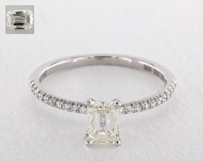 1.00 CARAT EMERALD CUT PAVE ENGAGEMENT RING IN 18K WHITE GOLD