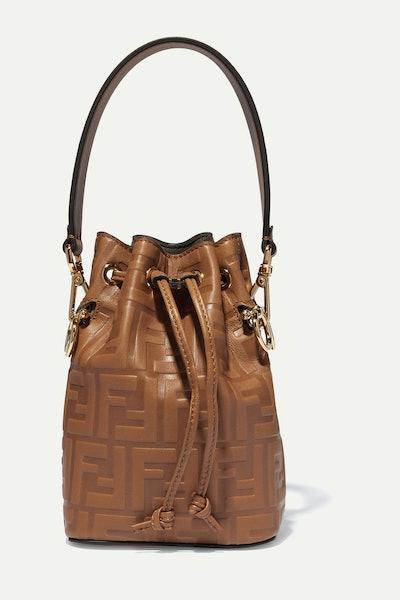Mon Trésor Mini Embosses Leather Bucket Bag