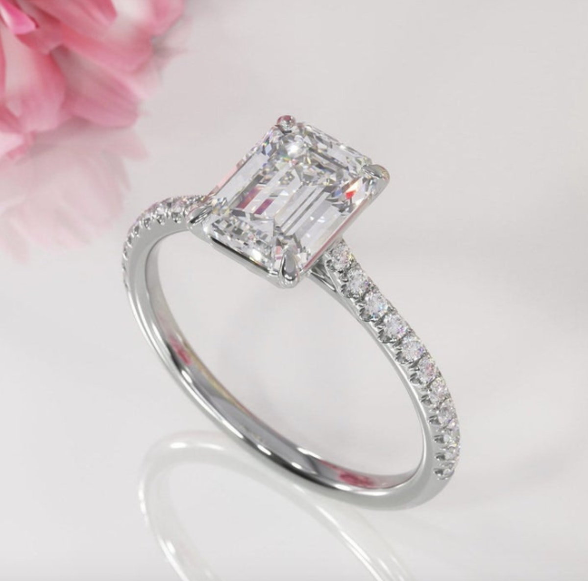2.00ct Emerald Cut Moissanite Engagement Ring, Available in White Gold or Platinum