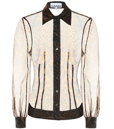 Printed Sheer Organza Shirt