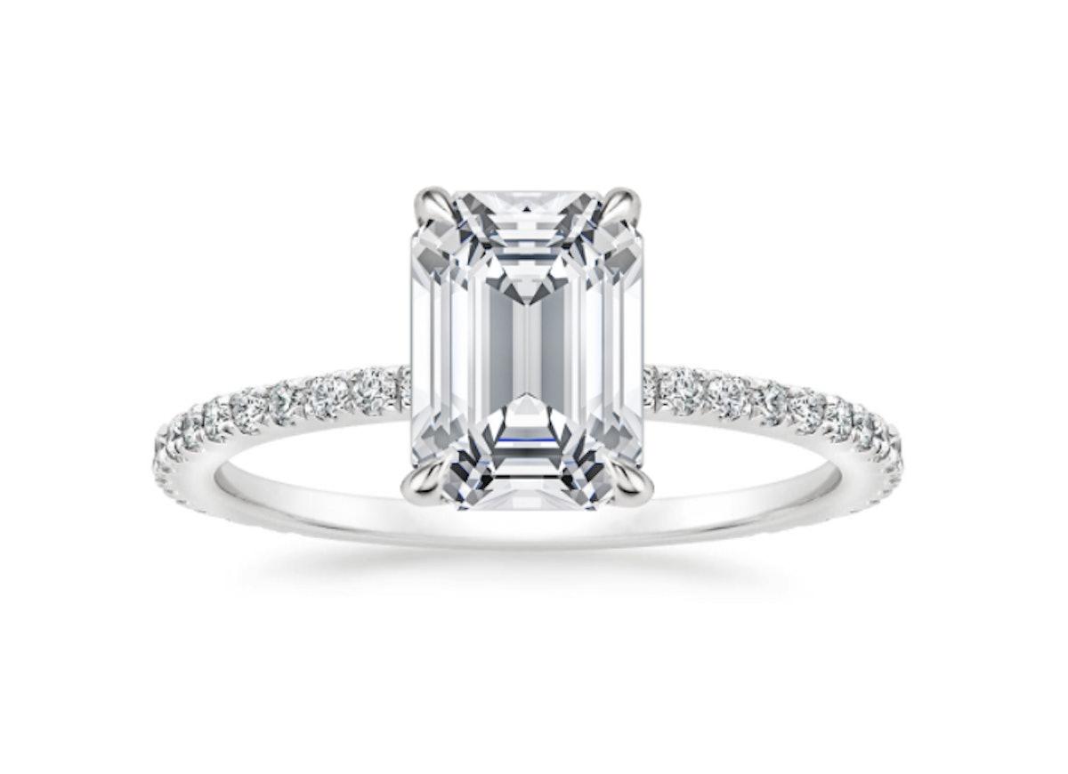 TACORI Royal T Emerald Cut Pave Hidden Halo Engagement Ring Setting