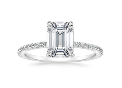 TACORI Royal T Emerald Cut Pave Hidden Halo Engagement Ring Setting