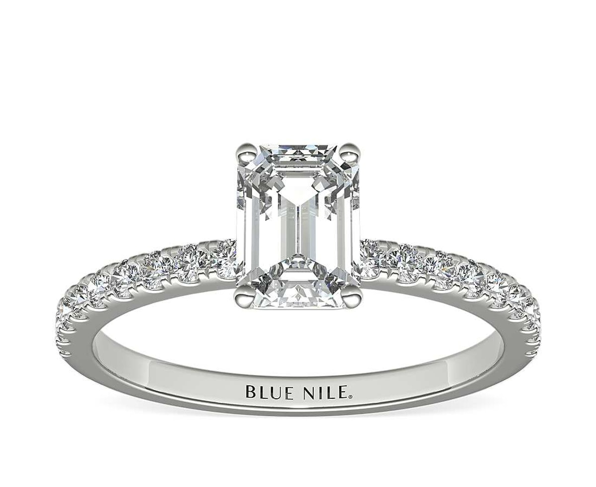 1ct Emerald Pavé Engagement Ring in 18k White Gold
