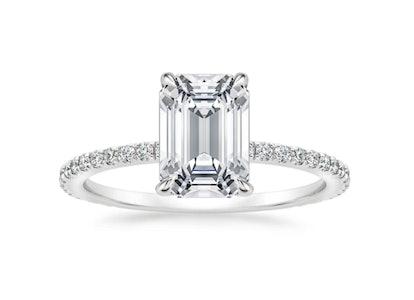 Demi Diamond Ring (1/3 ct. tw.) with 3.15 Carat Emerald Diamond