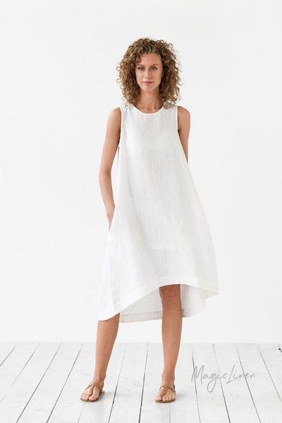 Magic Linen Asymmetric Linen Toscana Dress