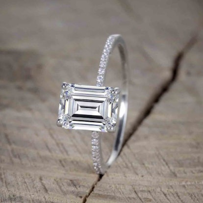 Beautiful 1 Carat emerald cut Moissanite Solitaire Engagement Ring for Women in 14k White Gold